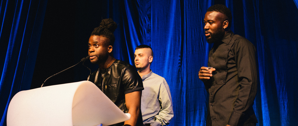 Young Fathers accept the SAY Award at the Barras Ceremony