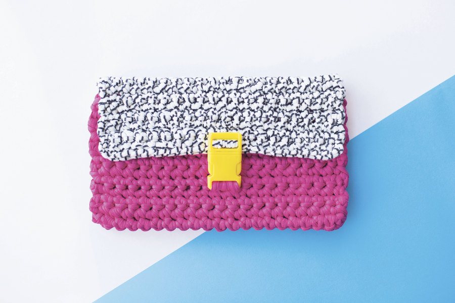 Colours May Vary crochet clutch bag