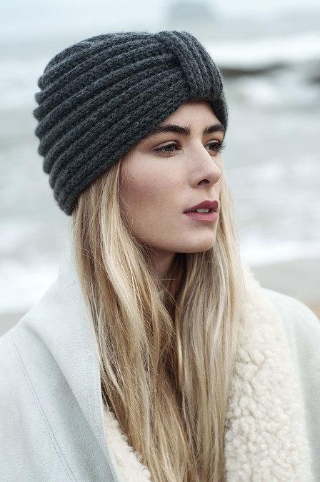 Rosie Sugden grey cashmere turban