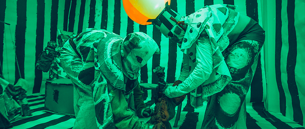Marvin Gaye Chetwynd - Jesus and Barabbas puppet show (9 October 2014). Courtesy Sadie Coles HQ, London