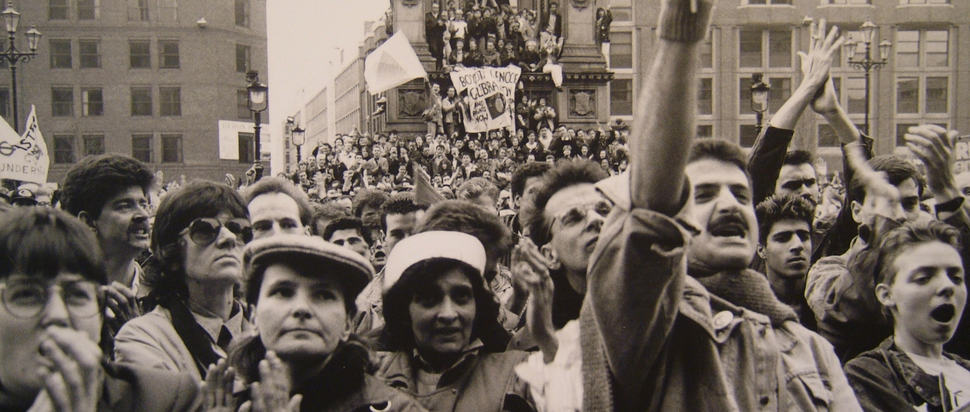 Anti-Section 28 March, Albert Square, Feb 1988. Courtesy Manchester Libraries, Information and Archives