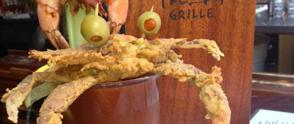 A crab-topped Bloody Mary at Luke Wholey's Wild Alaskan Grille