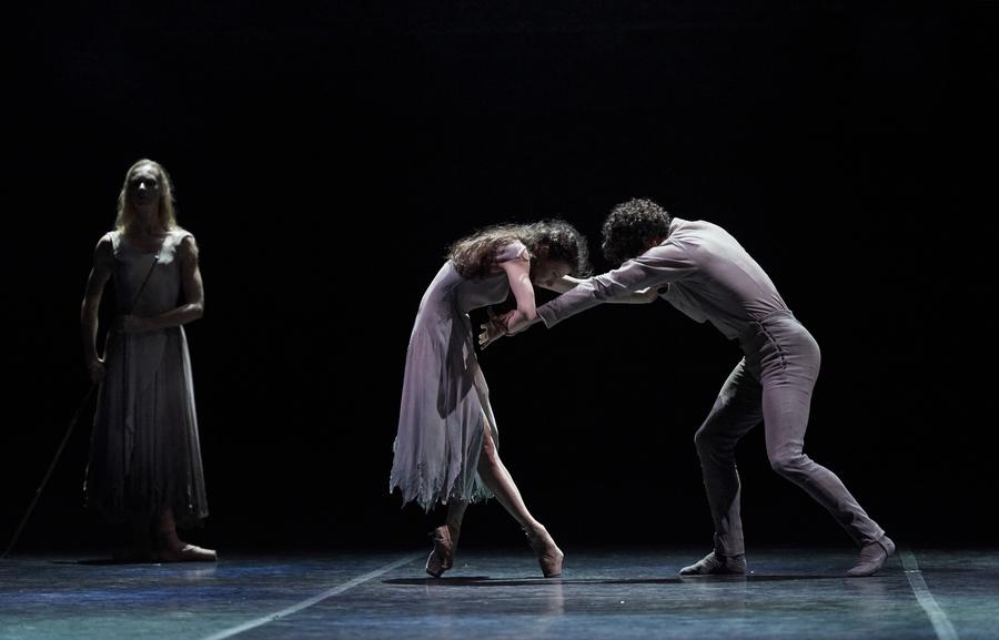Alina Cojocaru, Stina Quagebeur and Isaac Hernandez in Akram Khan's Giselle