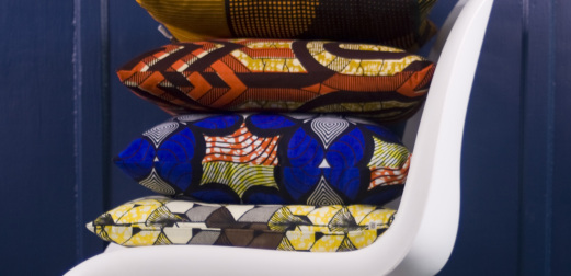 Cup + Cloth, Macclesfield, African print cushions