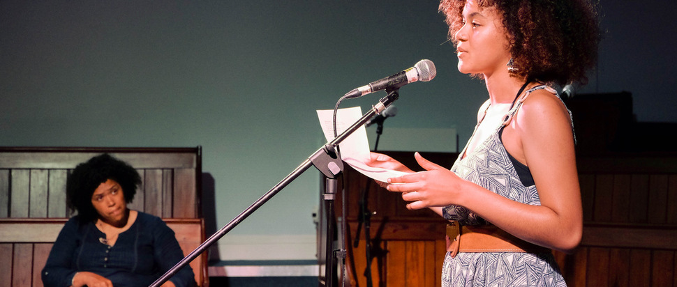 Poet Rommi Smith working with Squad writer Jessica Wood