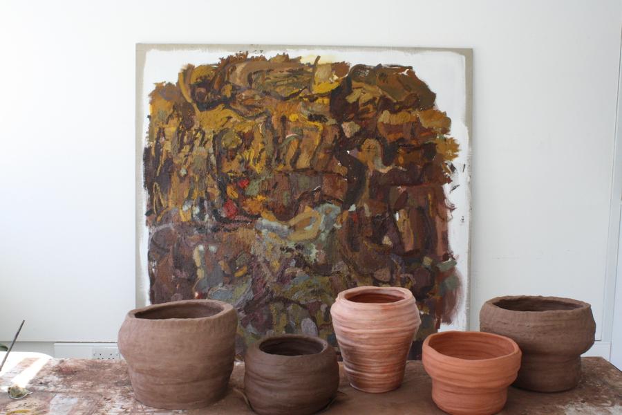 Daniel Leyland, Things in Field I, (2016),oil on linen & ceramic vessels, 190 x 190cm