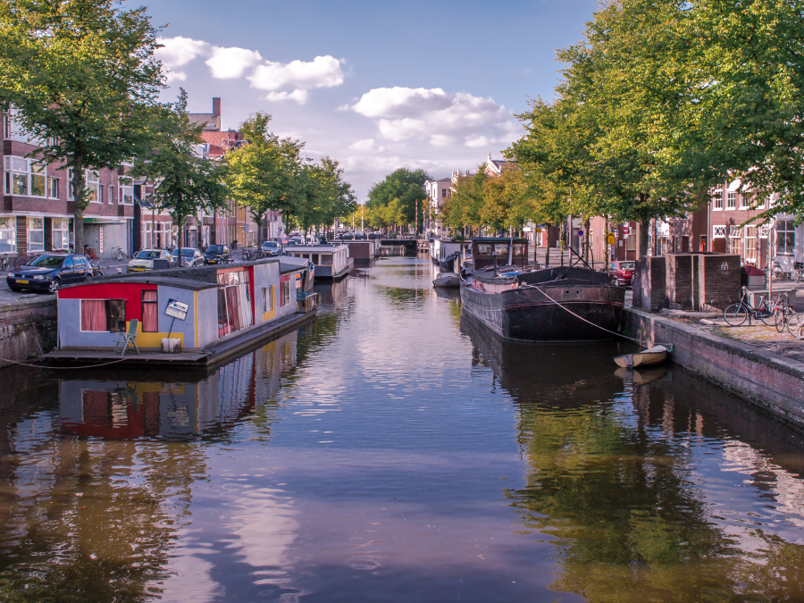 Houseboats at the canal, Groningen