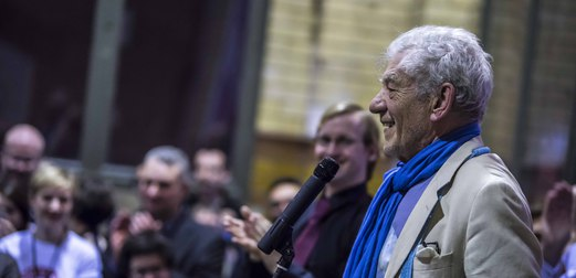 McKellen speaking at the launch of Never Going Underground. Photo: People's History Museum