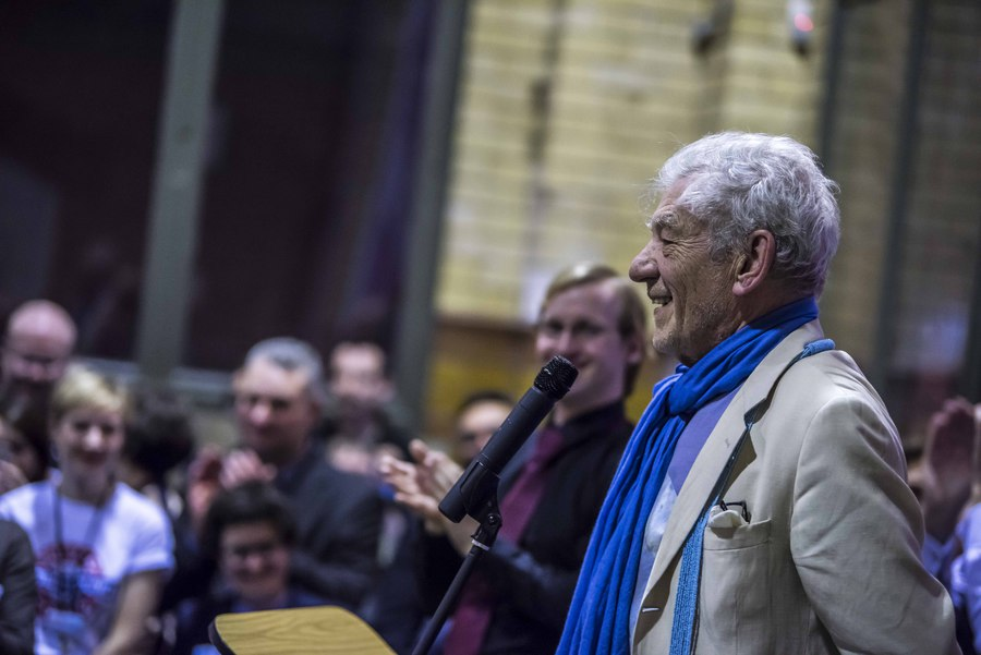 Ian McKellen speaking at the launch of Never Going Underground at the People's History Museum