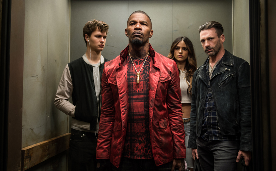 Baby (Ansel Elgort), Bats (Jamie Foxx), Darling (Eiza Gonzalez) and Buddy (Jon Hamm) decide on doing the heist in Baby Driver