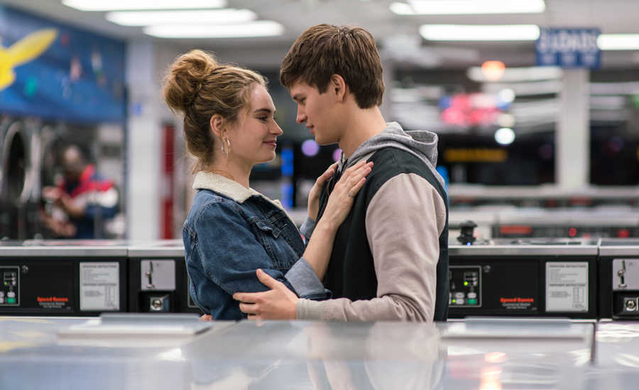 Baby (Ansel Elgort) and Debora (Lily James) in Baby Driver