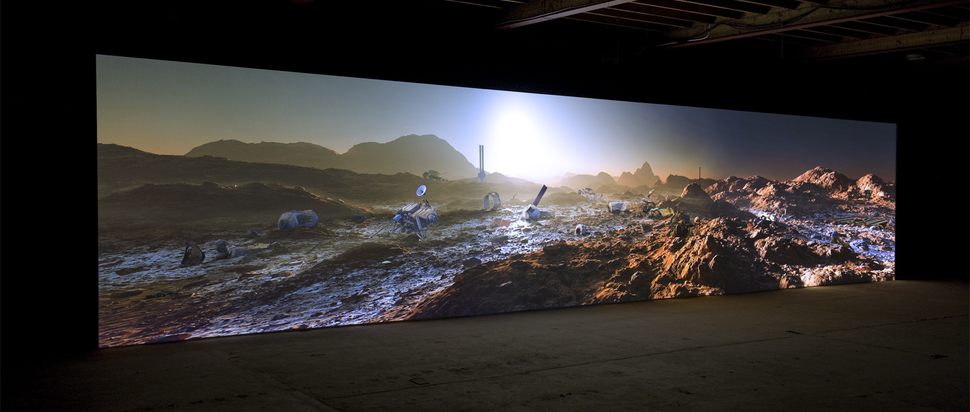 Kelly Richardson, Mariner 9 2012, 3-channel HD video installation with audio