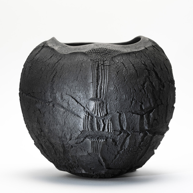 Patricia Shone Ceramics, Raku Erosion bowl