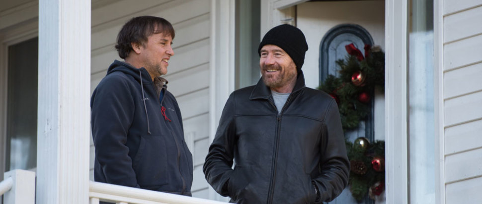 Richard Linklater on the Last Flag Flying set with Bryan Cranston