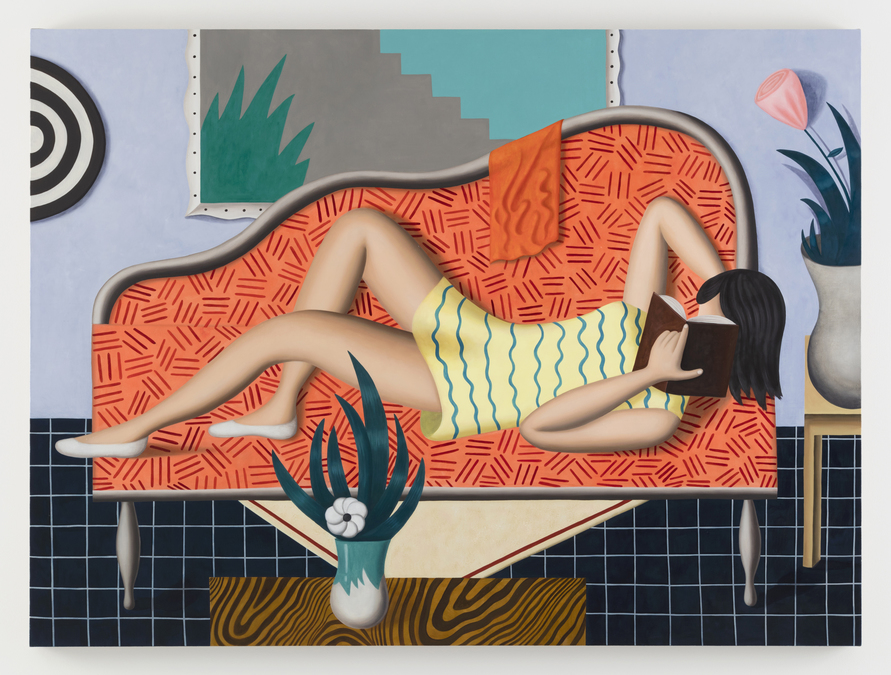 Jonathan Gardner, Salmon Sofa, 2016, oil on linen