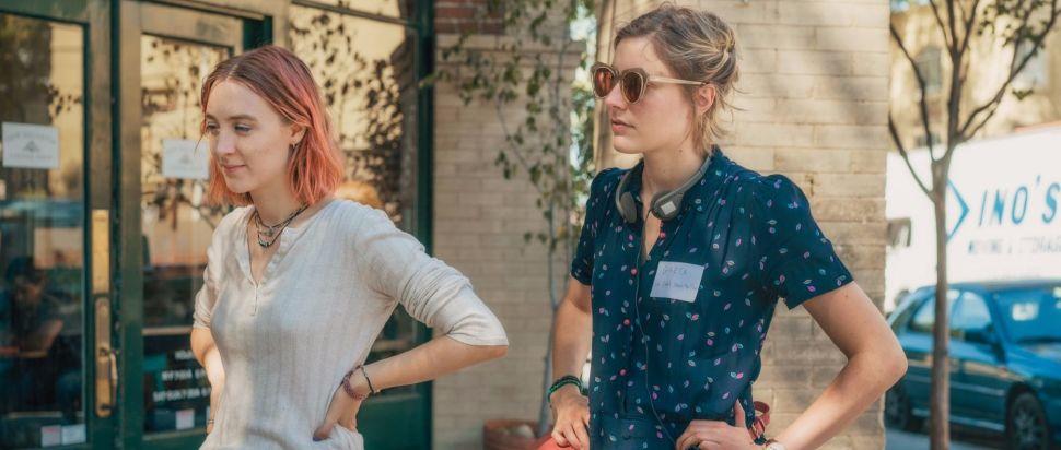 Greta Gerwig with Saoirse Ronan on the set of Lady Bird
