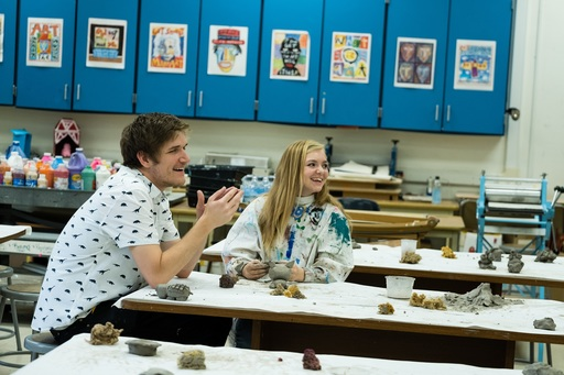 Bo Burnham and Elsie Fisher on the set of Eighth Grade