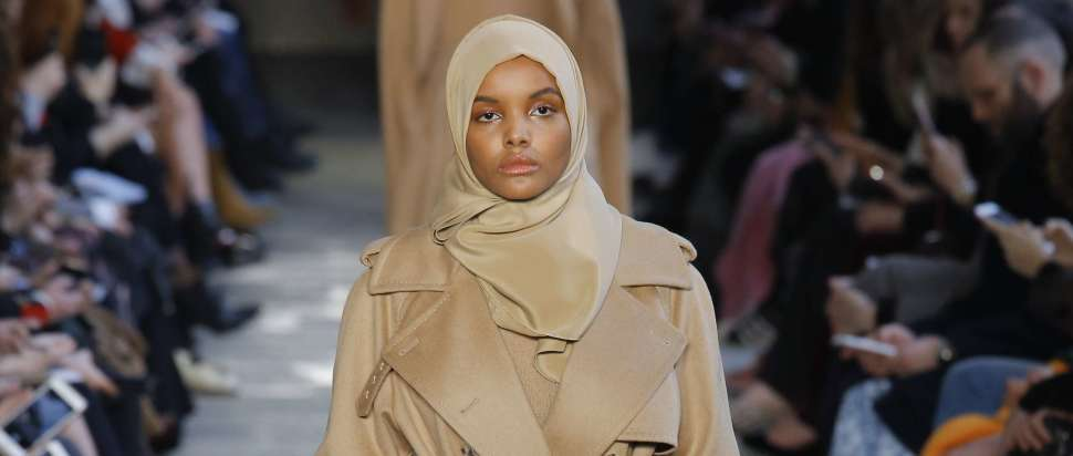 Model Halima Aden wears a look from the Max Mara Autumn Winter 2017 collection.