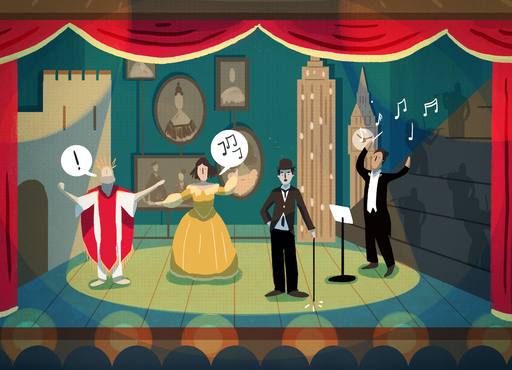 An illustration of four actors on a stage. From left to right: a man in Shakespearean robes; a woman in a large yellow dress; a man holding a cane, wearing a suit and hat; a conductor in full evening dress.