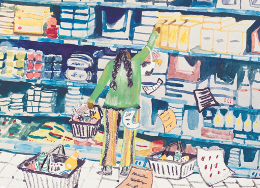 An illustration of a figure in a green top reaching for groceries from a high shelf, as notes and lists fall from their bag