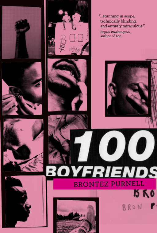 A pink and black duotone collage of close-up portraits of black men. Text in the lower right corner of the image reads '100 Boyfriends, Brontez Purnell'