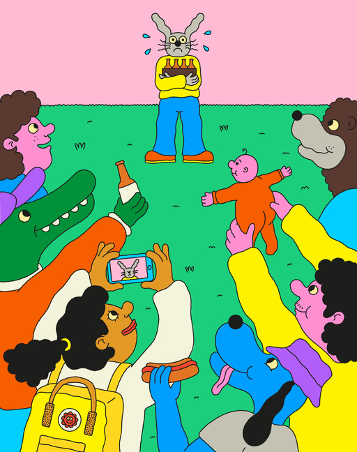 Illustration of a group of humans and anthropomorphic animals surrounding an anxious rabbit at what appears to be a party. Figures from the crowd are taking photos and offering various items to the rabbit, which is standing nervously by the wall.