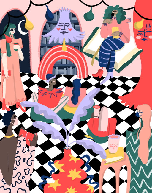 An abstract illustration of a spoken word performance. A performer holds a microphone, sitting on an oversized book; they are flanked by a curtain and lampshade, which both have faces on them. A crowd is spread across the room, many of whom are wearing masks. The floor is a black and white check pattern, with multicoloured lights running along the wall behind the performer.
