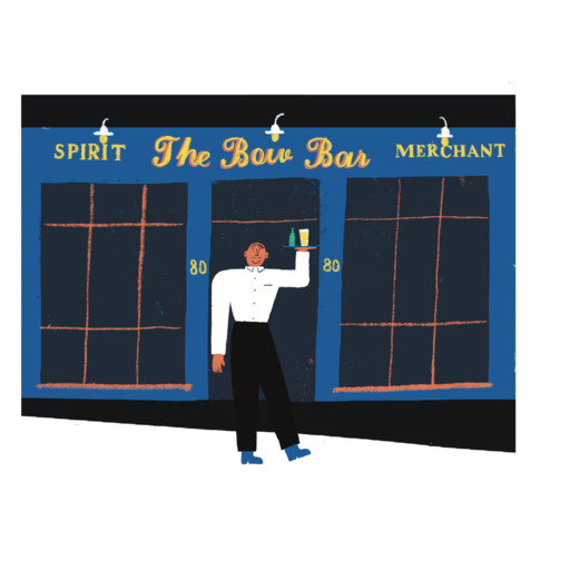 Illustration of a waiter in white shirt and dark trousers holding a tray of drinks outside a bar. The sign above the bar door reads 'The Bow Bar'.