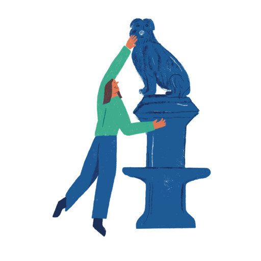 Illustration of a woman standing on her tiptoes to touch the nose of the Greyfriars Bobby statue.
