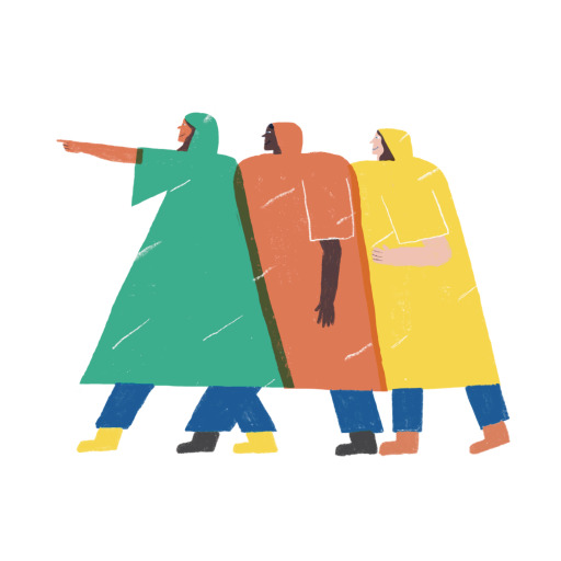 An illustration of three people in green, orange and yellow rain ponchos, bunched together so their jackets overlap.