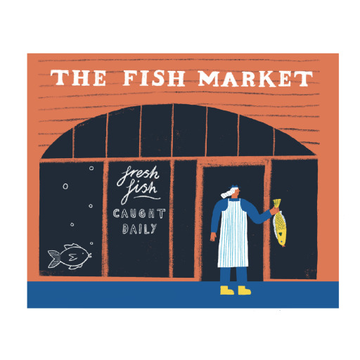 Illustration of a worker in a striped apron holding a fish outside a shopfront. The sign on the shop reads 'The Fishmarket: fresh fish caught daily'