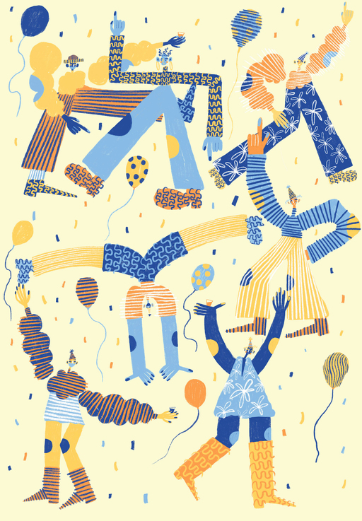 A group of abstract illustrated figures dance amid confetti and balloons.