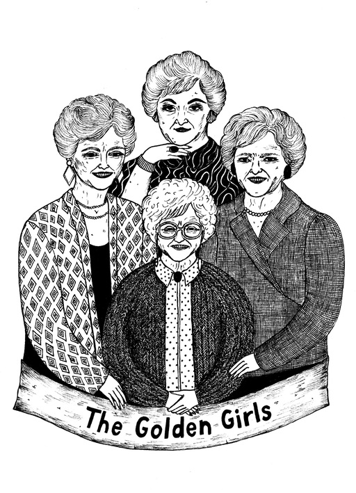 A black and white illustration of the cast of The Golden Girls, smiling towards the viewer.