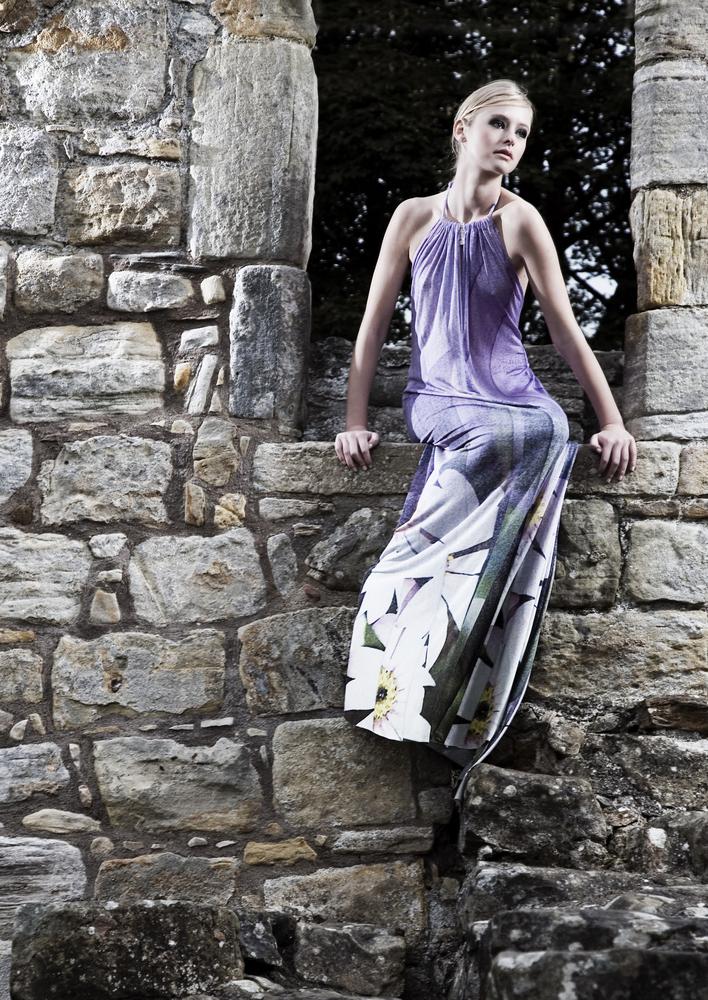 Digital print dress, Francesca Chiorando £800 (including sterling silver brooch by Laura Creer)