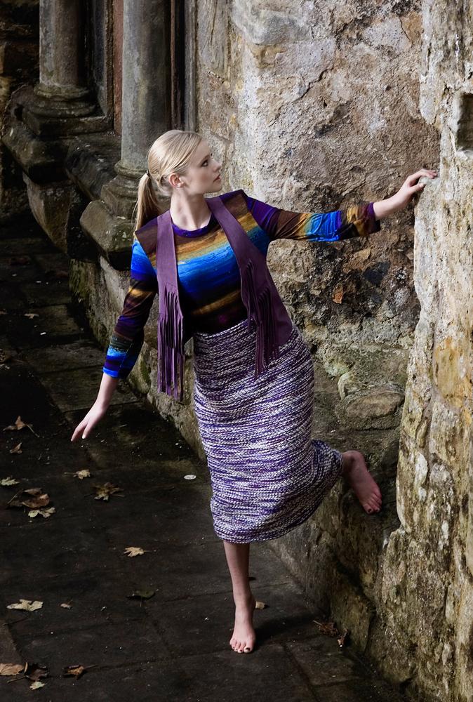 Digital print top £195, Waistcoat £105 and handwoven purple skirt £425, Katie Craib
