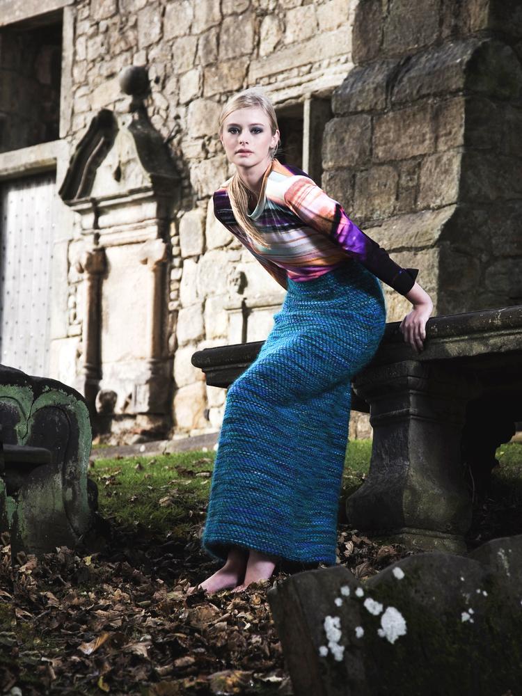 Digital print top £195 and handwoven turquoise skirt £485, Katie Craib.