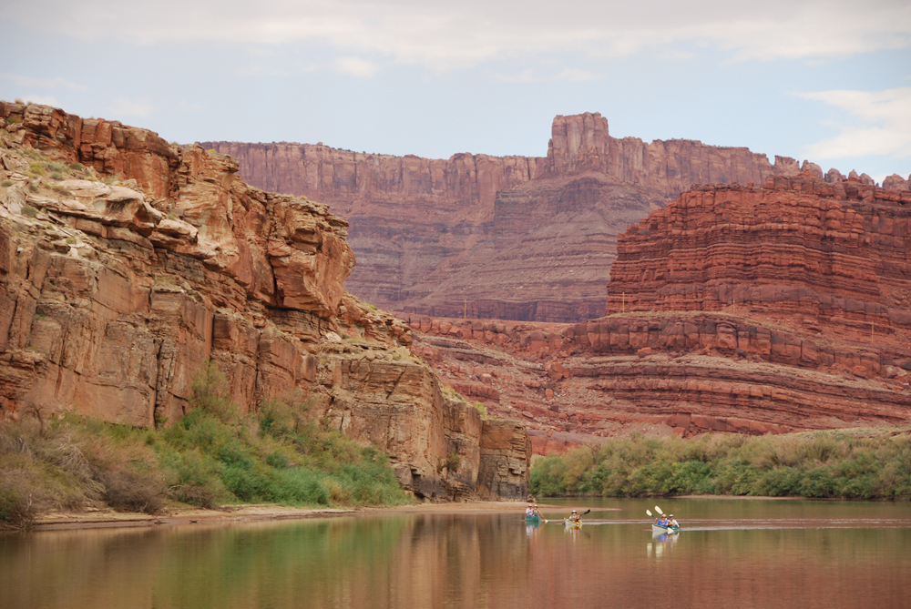 Boats on the Moab stretch of the Colorado River