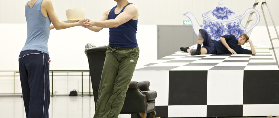 Sophie Martin, Tama Barry and Victor Zarallo in rehearsals for Ashley Page's Alice