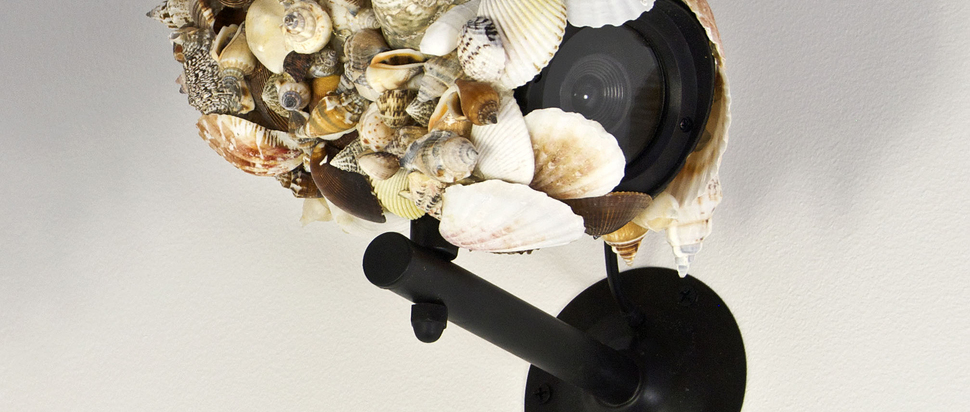 Pio Abad_Naturalia 2011_Seashells, dummy CCTV camera, adhesive_23 x 14 x 20 cm_Copyright the artist