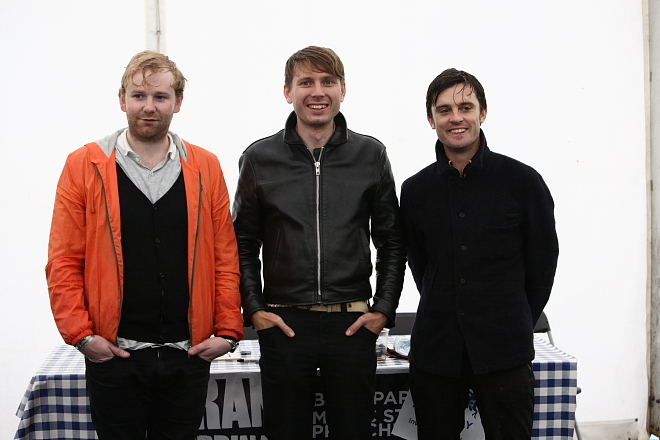 Three quarters of Franz Ferdinand at their pre-gig press conference