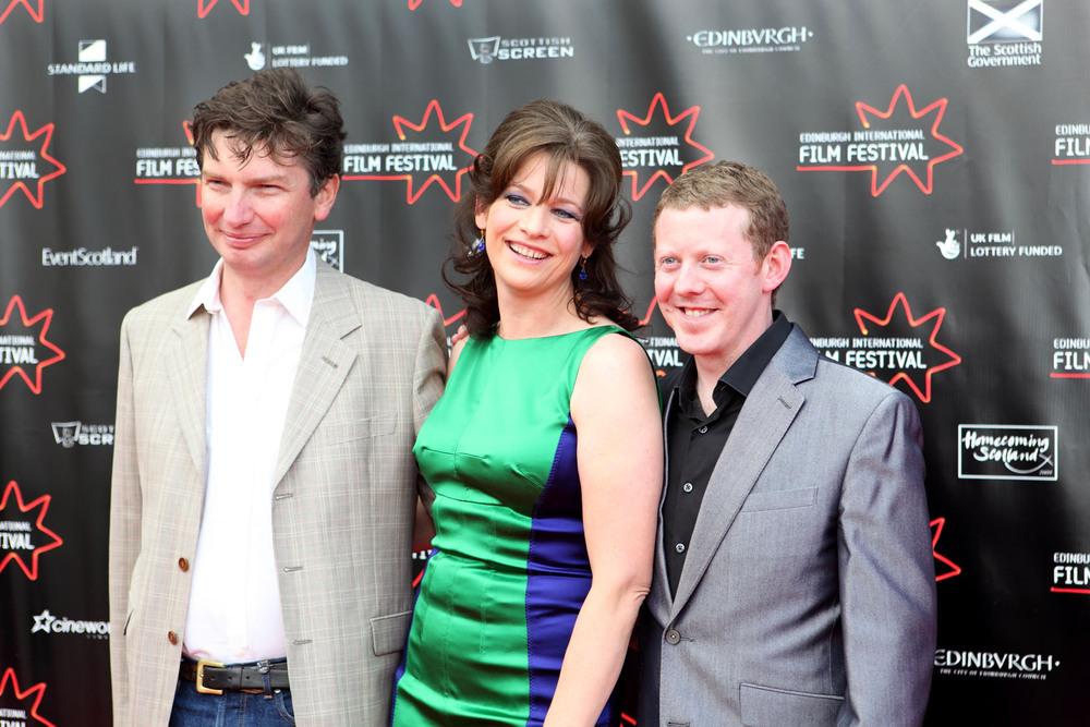 producer Andrew MacDonald, actress Kerry Fox and actor Alan McCredie-Shallow Grave